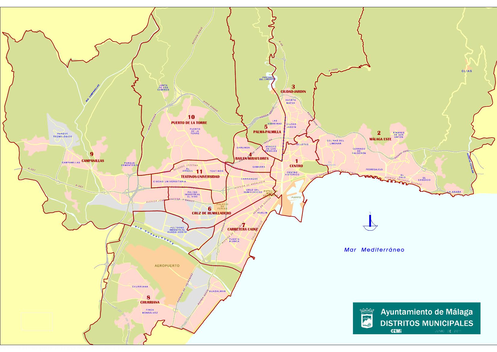 Mapa distritos municipales m laga ayuntamiento de m laga for Ayuntamiento de villel de mesa